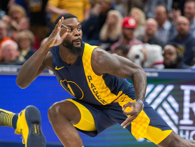 Pacers guard Lance Stephenson (1) celebrates his three point basket in the second half against the Philadelphia 76ers at Bankers Life Fieldhouse.