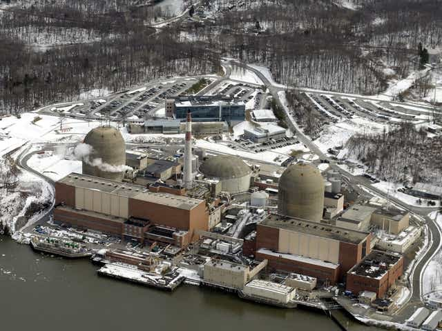 Aerial shot of Indian Point power plant on the shores of the Hudson River in Buchanan.