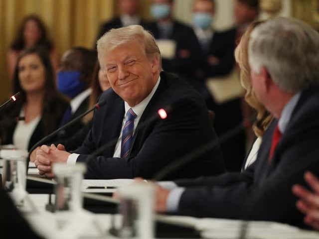 President Donald Trump meets with students, teachers and administrators about how to safely re-open schools during the novel coronavirus pandemic in the East Room at the White House on July 07, 2020, in Washington, D.C.
