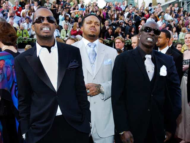 The Memphis rap group Three 6 Mafia arrives for the 78th Academy Awards in 2006.